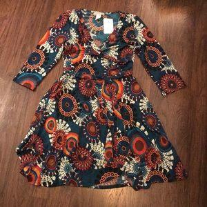 Janette Plus USA Wrap Dress w 3/4 sleeves